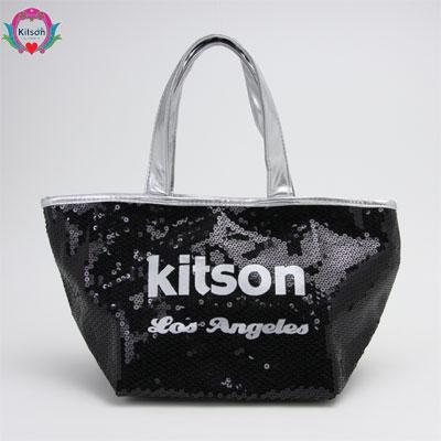 c0a6f5f5bc92 kitson キットソン SEQUIN MINI TOTE スパンコール ミニトートバッグ ブラック/シルバー 003564