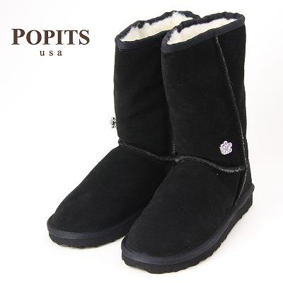 POPITS ポピッツ チャーム付きムートンブーツ BLACK/ナチュラルウール