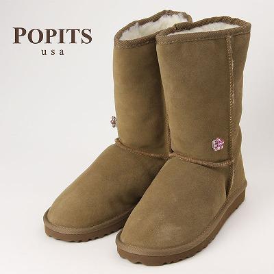 POPITS ポピッツ チャーム付きムートンブーツ CHESTNUT/ナチュラルウール