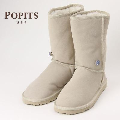 POPITS ポピッツ チャーム付きムートンブーツ SAND/ナチュラルウール